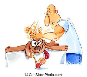 cane, massaggio