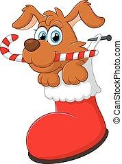 cane, natale, cartone animato