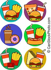 cane, panino, combos, icone, cibo, contiene, frigge, digiuno, caldo, soda, hamburger