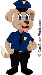 cane, polizia, carino, cartone animato, pollice