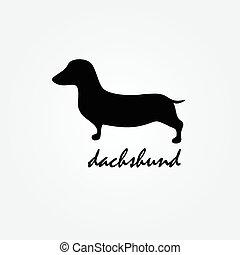 cane, razza, dachshund, silhouette, vettore, logotipo,...