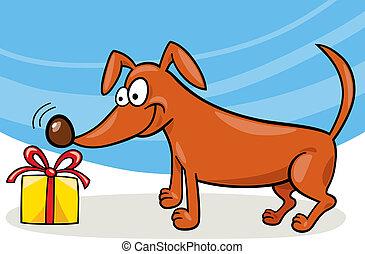 cane, regalo, natale