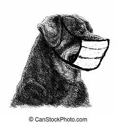 cane, rottweiler, maschera, illustrazione