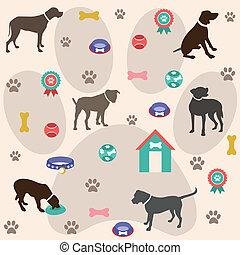 cane, seamless, modello, icone