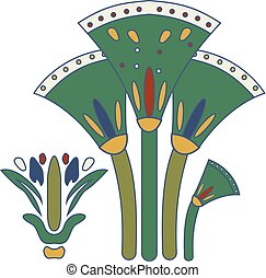 Cane stems and seeds compostion, ornamental cane element of Ancient Egypt.