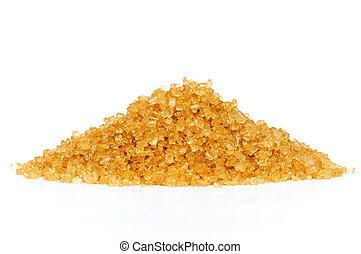 Cane sugar on white background .