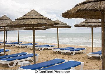 Cane umbrella beach at the Algarve