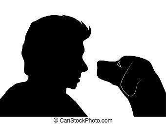 cane, uomo