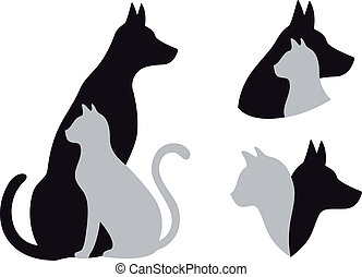 cane, vettore, gatto