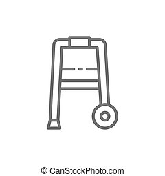 Cane, walker, medical device line icon.