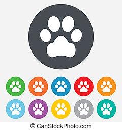 cane, zampa, segno, icon., animali domestici, simbolo.