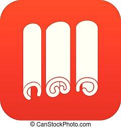 canela, ícone, digital, vermelho