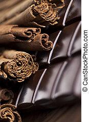 canela, chocolate escuro, com, doce, doce