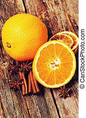 canela, com, laranja