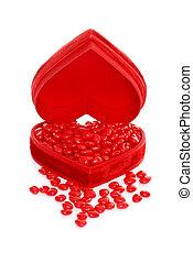 canela, corações, em, um, coração vermelho, caixa