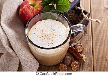 canela,  latte, jarabe, manzana, Pastel