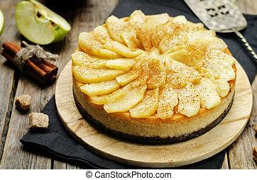 canela, maçã, caramelo, bolo queijo