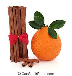canela, tempero, e, laranja, fruta