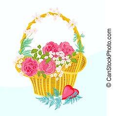 canestro fiore, vettore