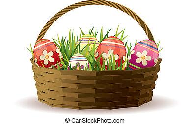 canestro pasqua, con, dipinto, uova, in, fresco, erba