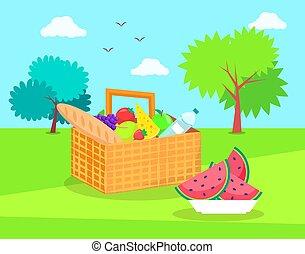 canestro picnic, con, verdure fresche, e, frutte
