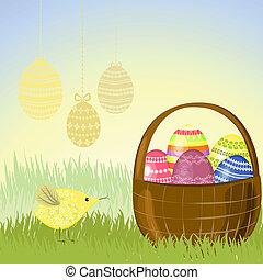 canestro uova pasqua, in, il, prato