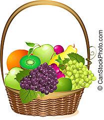 canestro wicker, con, frutta