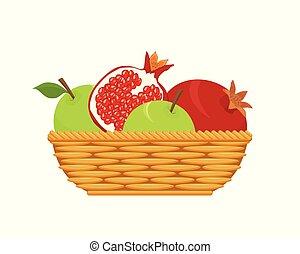 canestro wicker, con, frutte