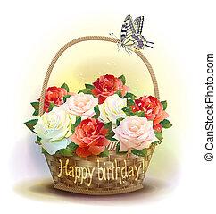 canestro wicker, con, roses., compleanno, card.