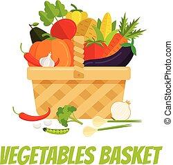 canestro wicker, pieno, di, verdura, carota, melanzana, cipolla, pisello, pepe, zucca, pomodoro, broccolo, granaglie, patata, agricoltura, giardino, agricoltura, concept., vettore, appartamento, cartone animato, isolato, illustrazione