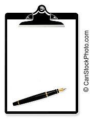 caneta, área de transferência, chafariz, em branco