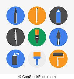 caneta, ícones