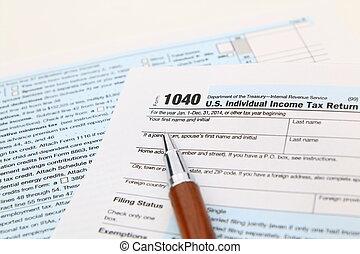 caneta, 1040 forma imposto, renda