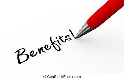 caneta, 3d, benefícios, ilustração, escrita