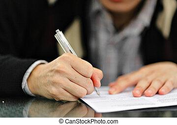 caneta, assinando, forma, mão
