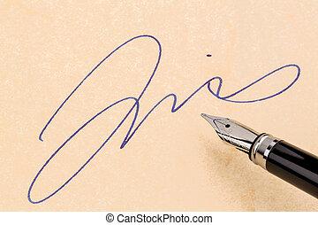 caneta, assinatura