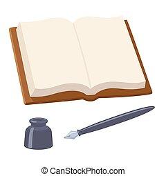 caneta, caderno, abertos, em branco