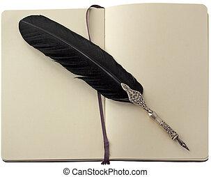 caneta, caderno, antigas, sobre