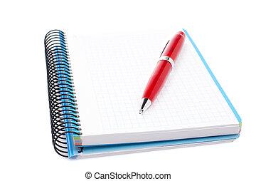 caneta, caderno, folha, em branco