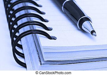 caneta, caderno