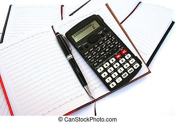 caneta, cadernos, calculadora