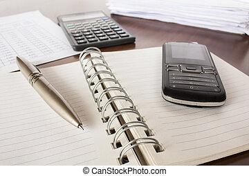 caneta, calculadora, contabilidade, célula, telefone, caderno, contas