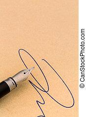 caneta, chafariz, assinatura