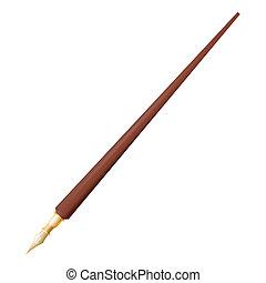 caneta, chafariz, fundo branco