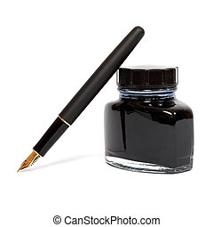 caneta, chafariz, garrafa, tinta