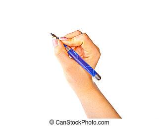 caneta, chafariz, mão