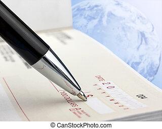 caneta, cheque