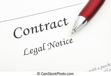 caneta, closeup, contrato legal