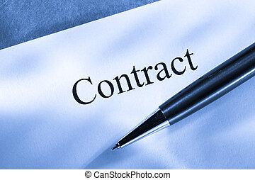 caneta, concepção, contrato