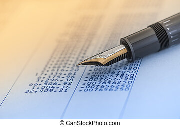 caneta, conta, números, dados